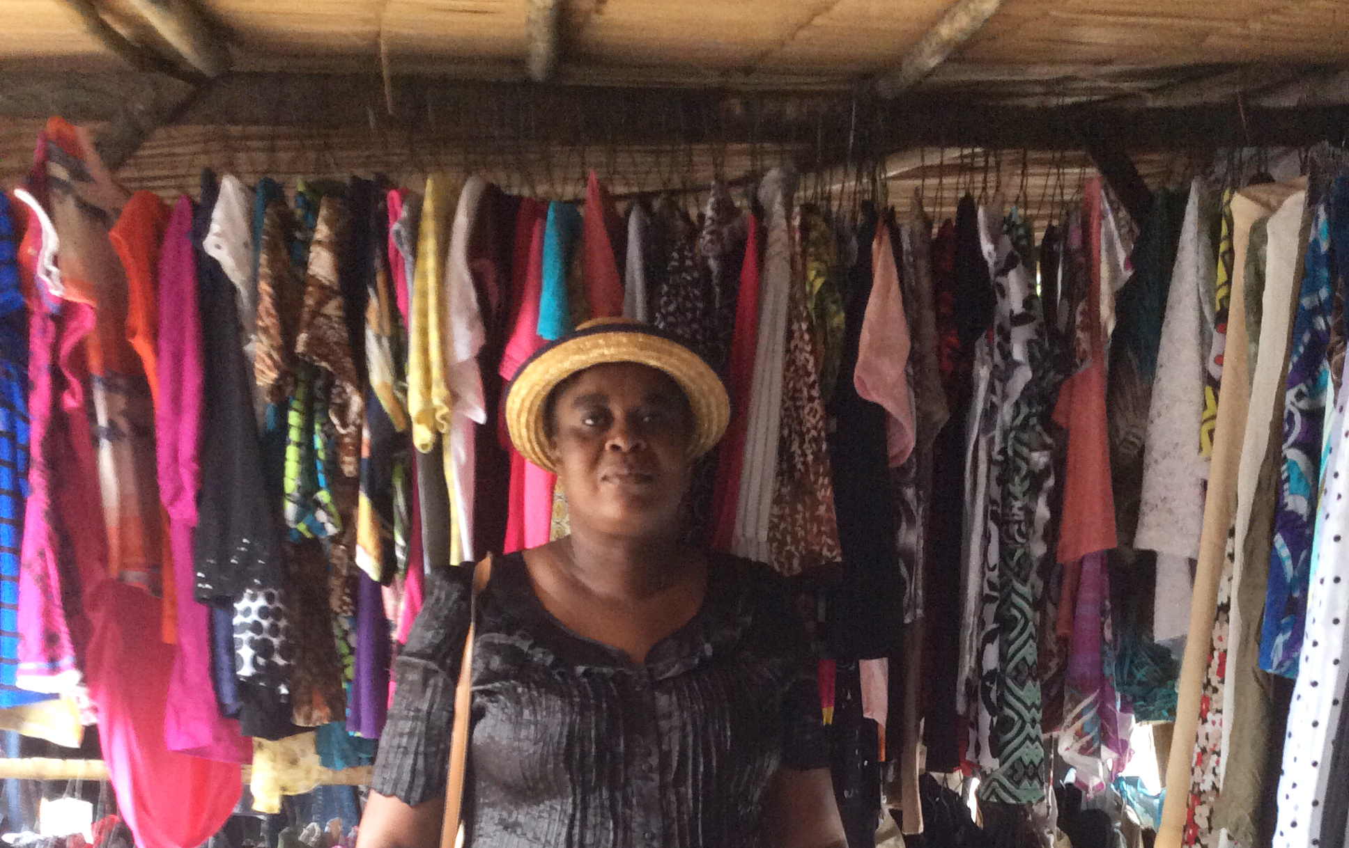 This HHW client has a successful business buying cast-off clothing from the USA-- She buys it in bulk, sorts and washes it, and sells it in the local market.