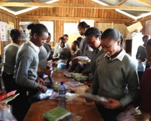 Secondary Girls Selecting DfG Kits, 9-24-15